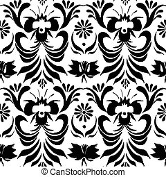 Seamless black pattern with floral background