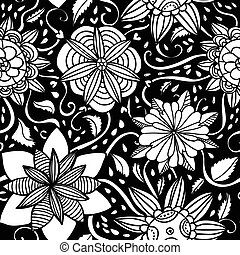 Seamless black pattern with flowers