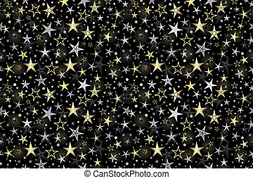 Seamless black pattern with golden and silver stars