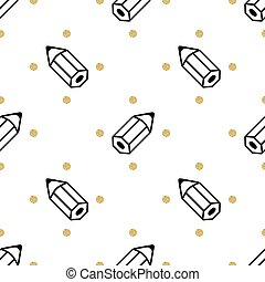 seamless black pencil with gold dot glitter pattern background