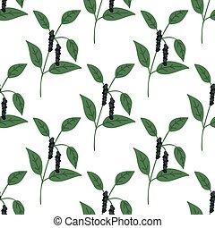 Seamless black pepper plant pattern