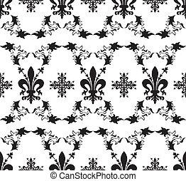 Seamless black royal vector texture