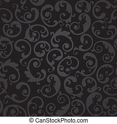 Seamless black swirls wallpaper - Seamless black and grey...
