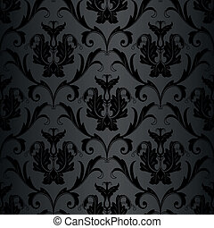seamless black wallpaper pattern - seamless black floral ...