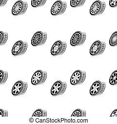 Seamless black wheel background