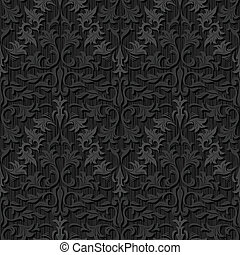 seamless, black , zijde, behangpatroon