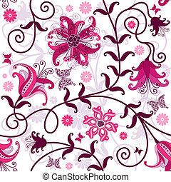 seamless, blanco, patrón, floral