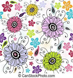 seamless, blanco, patrón floral