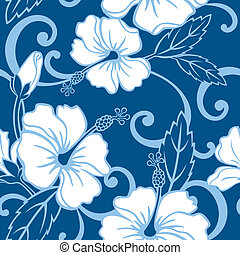 seamless, bleu, hawaï, modèle