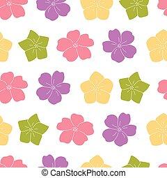 seamless, bloemen, achtergrond, paarse , gele, tuin, groene, model