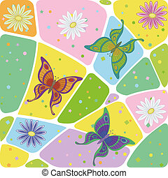 seamless, bloemen, en, vlinder
