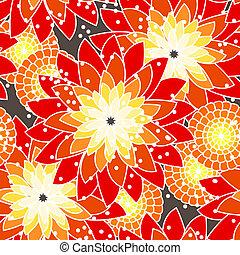 seamless, bloempatroon, in, oranje tonen