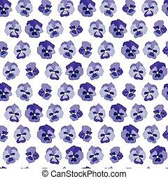 seamless, blom- mönstra, med, blå blommar, altfioler