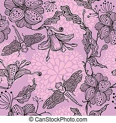 seamless, blom- mönstra, med, hand-drawn, blomningen, och, trollsländor
