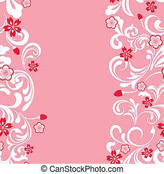 seamless, blomma, körsbär, ram, rosa