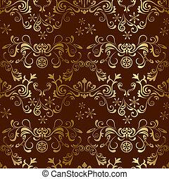 seamless, blommig, brun, mönster