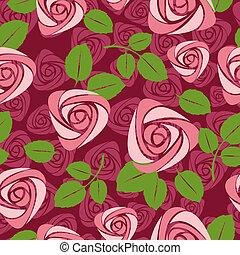 seamless, blommig, ro, vektor, bakgrund