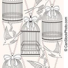seamless, blomningen, och, fåglar, mönster