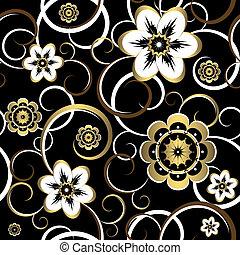 seamless, blomstrede, ornamental, sort, mønster, (vector)