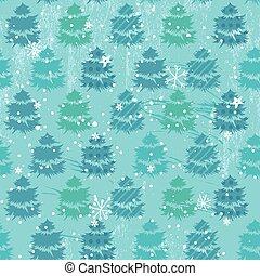 seamless, blu, modello, con, alberi abete