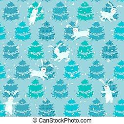 seamless, blu, modello, con, albero, e, conigli