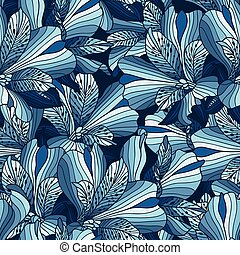 Seamless blue alstroemeria flowers background