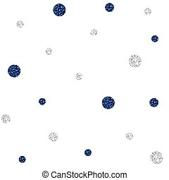 SEAMLESS BLUE AND SILVER DOT GLITTER PATTERN ON WHITE BACKGROUND