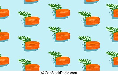 Seamless blue background with slice carrots with leaves and shade.