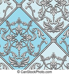 Seamless blue baroque pattern