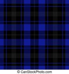 seamless blue, black tartan - seamless illustration - blue,...