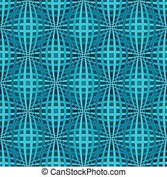 Seamless blue bulged stripes vector pattern.