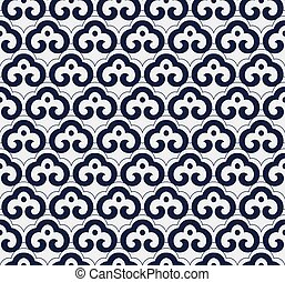 Seamless Blue Chinese Background oriental curve spiral cross...