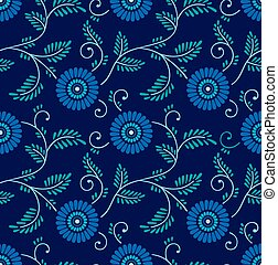 Seamless blue chinese floral background