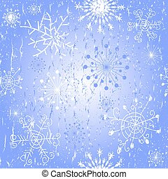 Seamless blue Christmas pattern with snowflakes and stars...