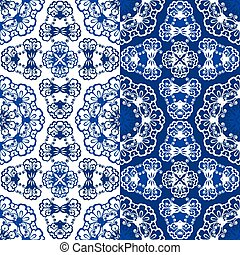 Seamless blue color floral patterns. Ornamental Background.