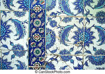 ottoman tiles as background - Seamless blue color ottoman...