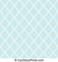 Seamless blue damask pattern. Vector illustration