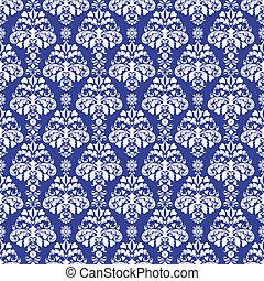 Seamless Blue Damask - Seamless damask pattern in white on...