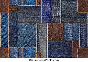 Seamless blue denim jeans patchwork with leather texture. Seamless pattern texture background