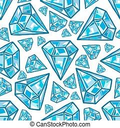 Seamless blue diamonds, gemstones on white background. Jewels pattern