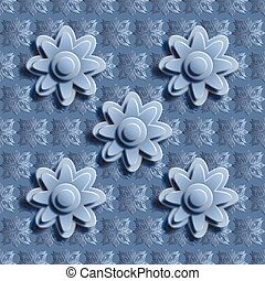 Seamless blue floral pattern 3D.  It can be used as a background or template.  Vector illustrations EPS10.