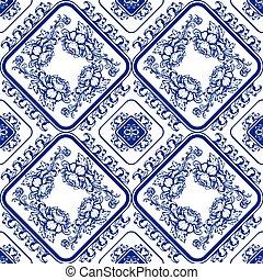 Seamless blue floral pattern. Backg