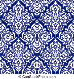 Seamless blue floral pattern for ceramic design