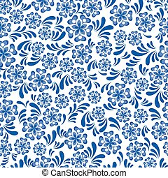 Seamless blue floral pattern in Russian gzel style