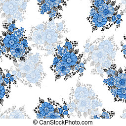 Seamless blue floral pattern on white background
