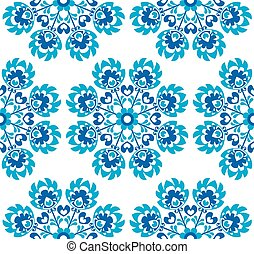 Seamless blue floral Polish pattern