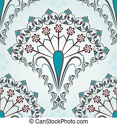 Seamless blue floral vector pattern.