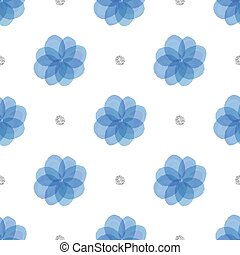 seamless blue floral with silver dot glitter pattern background