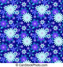 seamless blue flowers on dark blue background