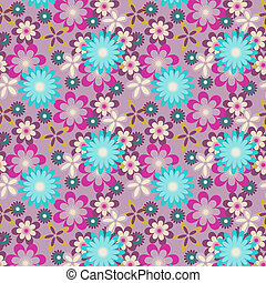 seamless blue flowers on light purple background